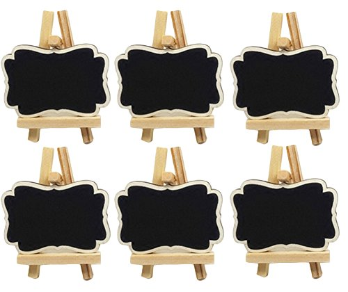 Miraclekoo Mini Chalkboards Place Cards with Easel for Wedding, Parties, Table Top Numbers, Food Signs, Decorating Signs,Message Board Signs,Set of (Small Chalkboard Easel)
