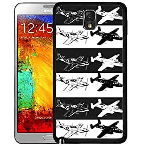 Black and White Airplanes Pattern Hard Snap on Cell Phone Case Cover Samsung Galaxy Note 3 N9000