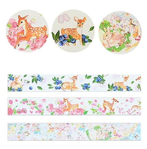 Doitsa 3 pcs Masking Tape decorativo Masking Tape Cinta adhesiva papel recortes
