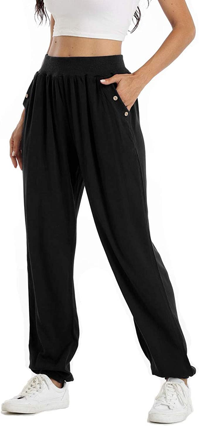 ODODOS Womens High Wasited Loose Joggers with Pockets Workout Sweatpants Comfy Causal Travel Lounge Pants
