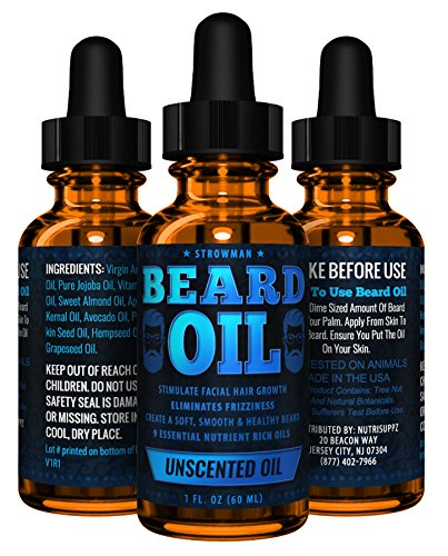 Unscented Beard Oil For Men All Natural | Conditioner, Stimulate Growth, Eliminate Frizziness & Irritation | Fragrance Free - 100% Natural | Made In Usa
