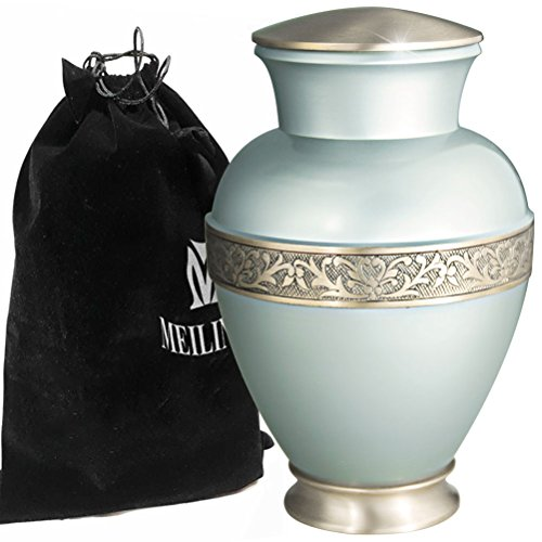 Funeral Urn for Ashes - Cremation Urns for Human Ashes Adults and keepsake Urns - Design is Hand Engraved in Brass - Display Burial Urns At Home or in Niche -