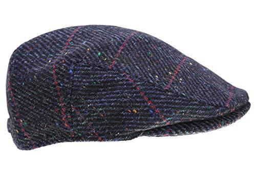 Biddy Murphy Men's Tweed Cap 100% Irish Wool Tweed Driver's Cap Navy and Red Plaid Cap Made in Ireland XL (Plaid Cap Drivers)