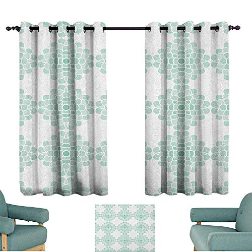 (WinfreyDecor Aqua Customized Curtains Horizontal Lines Stripes Bold and Thin Ocean Themed Image Darkening and Thermal Insulating 72
