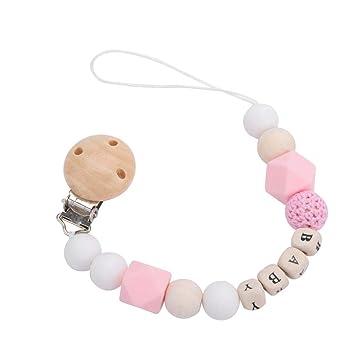 Chupete cadena clips, Masticable Libre de BPA Silicona Madera Mordedor de bebé Titular Dentición Granos Juguetes de Regalo para niños(Pink)