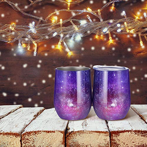 Skylety 12 oz Double-insulated Stemless Glass, Stainless Steel Tumbler Cup with Lids for Wine, Coffee, Drinks, Champagne, Cocktails, 2 Sets (Starry Purple) by Skylety (Image #1)