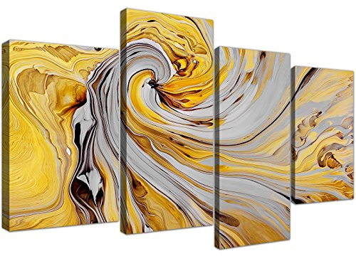 Wallfillers Large Mustard Yellow And Grey Spiral Swirl - Abstract Canvas Split 4 Part - 4290 -