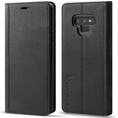 大学院葉っぱ量AUNEOS Samsung Galaxy Note9 ケース 手帳型 本革 ワイヤレス充電に対応 マグネット無し S-Penに対応 横開き カード収納 スタンド機能 耐衝撃 ギャラクシー ノート9 SCV40 SC-01L 手帳ケース (Galaxy Note 9, 黒い)