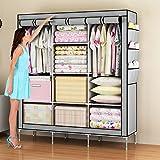 amazon amanda - Amanda Home Portable Clothes Closet Non-woven Fabric Wardrobe Storage Organizer (Color: Grey - 51