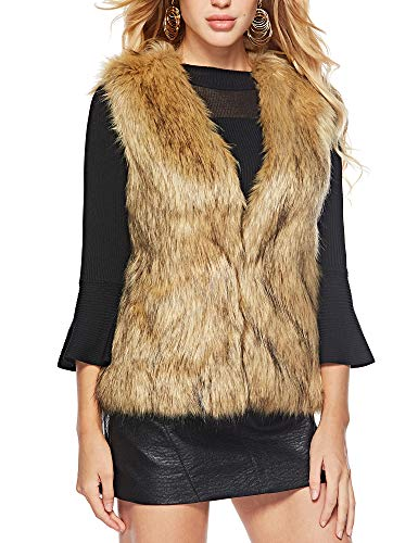 - Caracilia Womens Soft Sleeveless Faux Fur Vest Gradient Waistcoat Jacket huangdi XL CAFB1