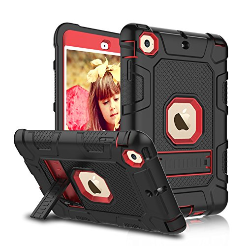 Mini Cushion Grip 4 Piece (iPad Mini, Mini 2, Mini 3 Case, Elegant Choise iPad Case with Stand, Shockproof / High Impact Resistant Hybrid Three Layer Defender Protective Cover Case for iPad Mini 1/2/3 (Black+Red))