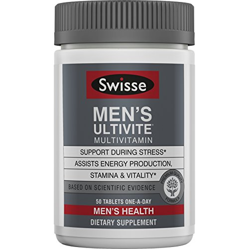 Swisse Mens Premium Ultivite Multivitamin - Energy Support, Stress Support, Antioxidant & Mineral Rich Daily Vitamin for Men (50 Tablets)
