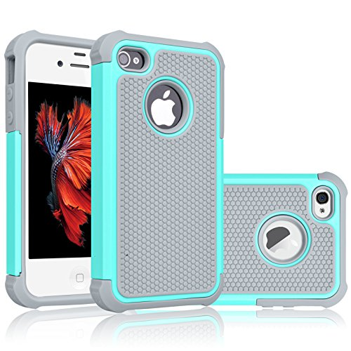 Tekcoo for iPhone 4S Case, Tekcoo iPhone 4 / 4G Cover, [Tmajor] Shock Absorbing Hybrid Best Impact Defender Rugged Slim Grip Bumper Cover Shell Plastic Outer & Rubber Silicone Inner [Turquoise/Grey]