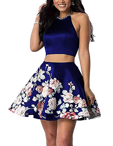 92a4faa465e ... Women s Halter Beaded Two Piece Homecoming Dresses Short 2018 Floral Prom  Gown Size 2 Royal Blue.   