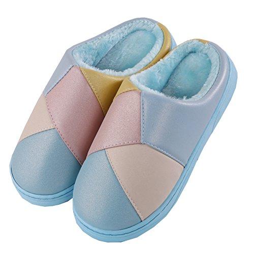 Stitching Baumwolle Pantoffeln-Winter dick Kruste Pl¨¹sch Warm Schnee Bootie Schuhe Blau