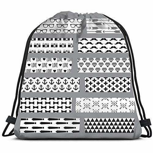 set hipster ed washi tape stripes signs symbols Drawstring Backpack Gym Sack Lightweight Bag Water Resistant Gym Backpack for Women&Men for Sports,Travelling,Hiking,Camping,Shopping Yoga