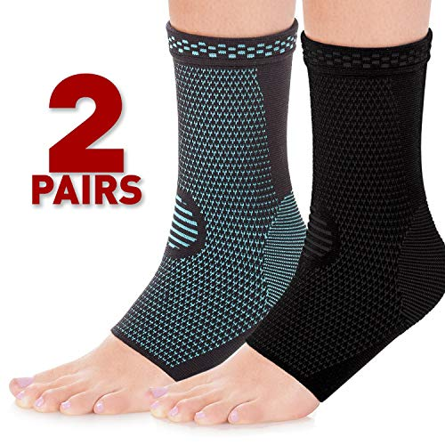 HaveDream Ankle Brace Compression Support Sleeve (2Pairs) for Injury Recovery, Joint Pain and More. Plantar Fasciitis Foot Socks with Arch Support, Eases Swelling, Heel Spurs, Achilles Tendon (L)