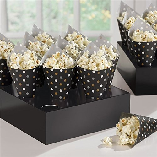 Black, Gold and Silver Polka Dot Snack Cones with 2 Serving Trays (Snack Per Halloween)