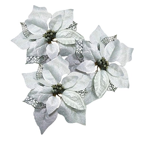 Silvery Pack of 12 Glitter Artificial Wedding Christmas Flowers Glitter Poinsettia Christmas Tree Ornaments (Silvery) (Flower Poinsettia Christmas)
