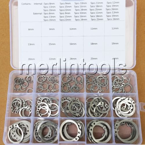 Nut & Bolt - 8mm - 26mm 304 Stainless Steel Circlip Retaining Ring Snap Ring Assortment Kit