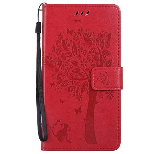 A-slim(TM)Cat Tree Butterfly Design Embossed PU Leather Wallet Purse Credit Card Holders Magnetic Flip Folio TPU Soft Bumper Ultra Slim Fit Cover for Google PIXEL(Red) (Slimcat Cat)