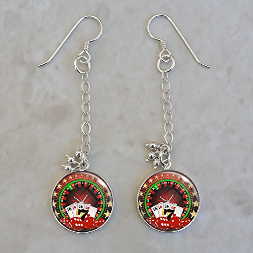 Casino Gambling Vice Roulette Poker Dice .925 Sterling Silver Earrings ()