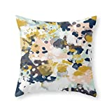 """Sloane - Abstract Painting In Modern Fresh Colors Navy, Mint, Blush, Cream, White, And Gold Throw Pillow Indoor Cover (20"""" x 20"""")"""