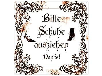 Bitte Schuhe Ausziehen amazon de 20x20cm shabby vintage metallschild blechschild bitte