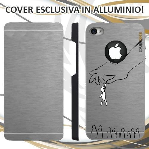 CUSTODIA COVER CASE CASEONE UOMO BIRILLO PER IPHONE 4S ALLUMINIO TRASPARENTE