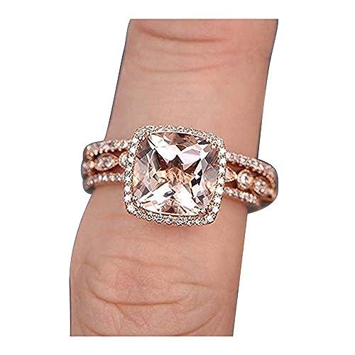Amazon.com: Dabangjewels - Juego de 3 anillos de boda con ...