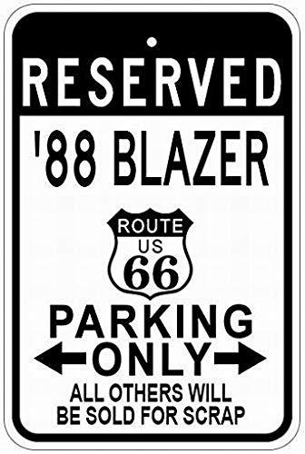 PaBoe Metal Signs 1988 88 Chevy Blazer Route 66 Tin Caution Sign 12x16 Street Decor Yard Garage Sign (66 Blazer Route)