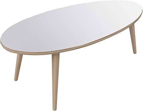Movian Adour Modern Oval Coffee Table 55 X 110 X 39 White Amazon De Kuche Haushalt