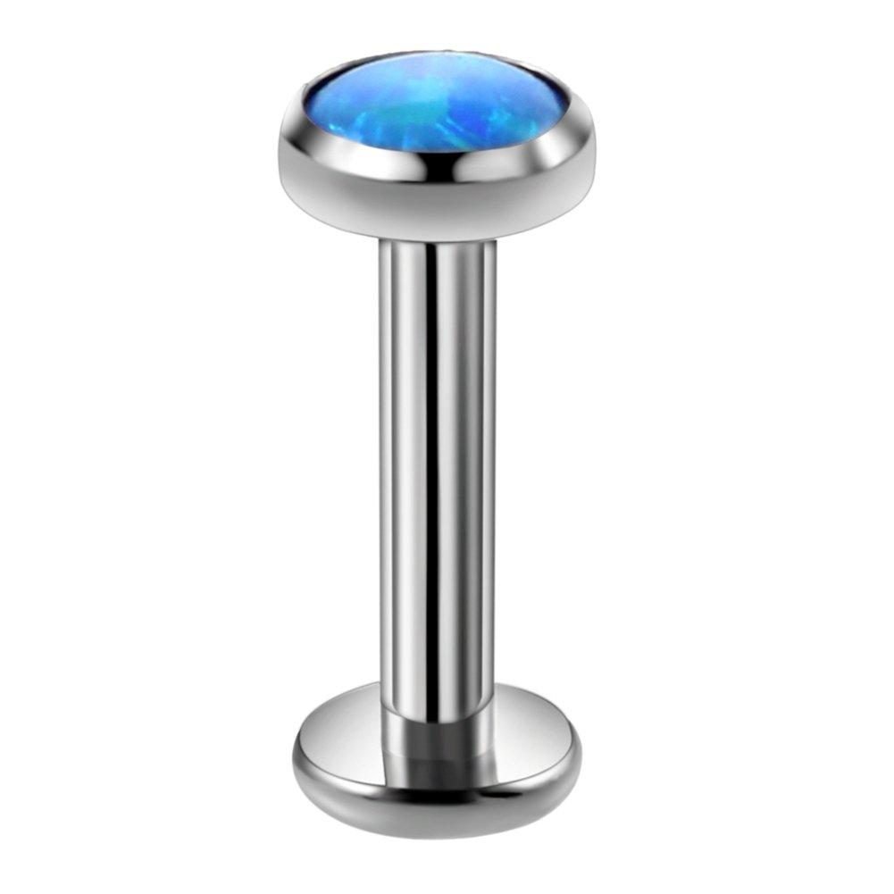 Xpircn 14G 4mm Synthetic Opal Labret Monroe Lip Ring Helix Stud Earrings Body Jewelry Piercing Internally Threaded 8mm Bar for Men Women A02T2310