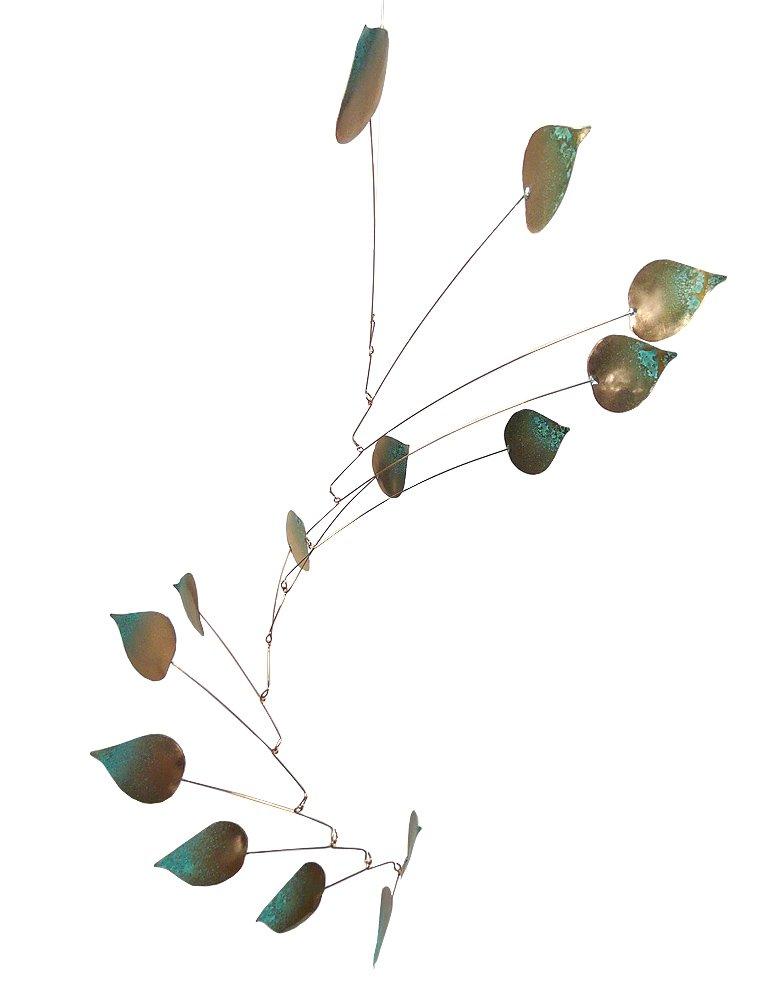 Copper Aspen Leaves Spinning Mobile for Indoor or Outdoor, Large 14-Leaf Version