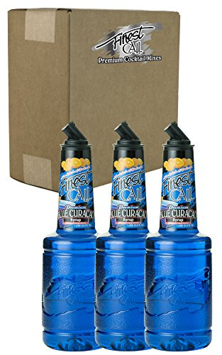 Finest Call Premium Blue Curacao Drink Mix, 1 Liter Bottle (33.8 Fl Oz), Pack of 3