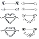 Jstyle 4 Pairs 316L Stainless Steel Nipple Piercing Tongue Rings Heart Barball CZ