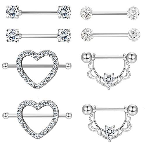 f8eaebec298c57 Jstyle 2-4 Pairs 316L Stainless Steel Nipple Rings Barbell Crystal Ball  Piercing Nipple CZ Tongue Rings 14G