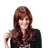 QPJFQ ZMM Wig, Long Curly Rose Net Fluffy Reddish Brown
