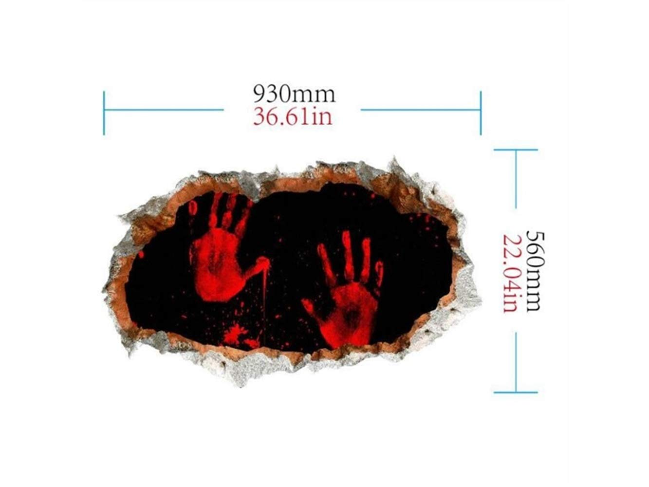 Hezon Happy Festival New Halloween 3D Horror Wall Mirror Window Stickers Removable