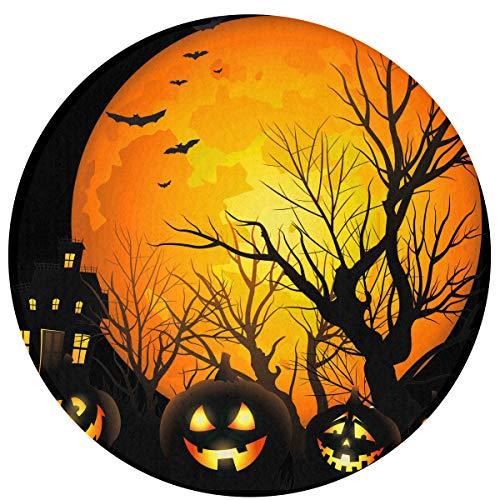 Feim-AO Halloween Moon Night Pumpkins Round Door Mat 35.4