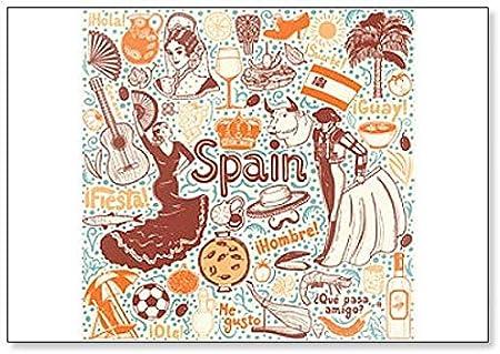 Juego de símbolos de España en estilo de ilustración artesanal ilustración clásica imán para nevera: Amazon.es: Hogar