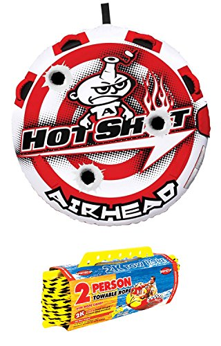 Shot Towable Tube - Airhead Hot Shot 2 Inflatable Round Single Rider Towable Tube w/60' Tow Rope