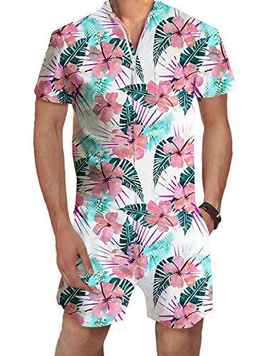 PIZOFF Male Romper 3D Graphic Hawaiian Flower Rompers Hawaiian Romper Shorts Zipper Jumpsuit One Piece Romper AM100-09-XXL