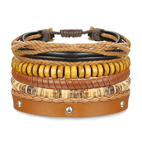 ORAZIO 4-12Pcs Wooden Beaded Bracelet Leather Braided Bangle for Men and Women Elastic 5-8MM Beads (A: 4Pcs)