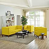 Modern Contemporary Urban Design Living Lounge Room Sofa Set ( Set of Three), Yellow, Fabric