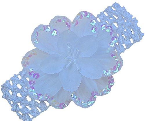 Baby Girls Celeste Sequin Flower Crochet Headband By Funny Girl Designs (White) - Popular White Flowers