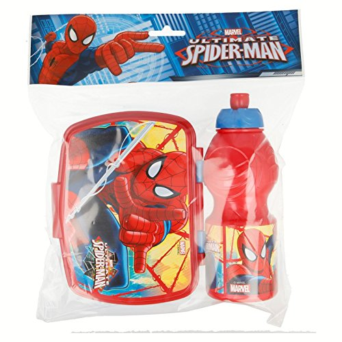 STOR 33476 Spiderman Set Botella cantimplora Sport y sandwichera