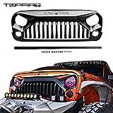 TOPFIRE Upgraded Front Grill for Jeep Wrangler Rubicon Sahara Sport JK/JKU 2007-2018 (Matte Black, with Logo)