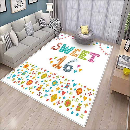 16th Birthday Room Home Bedroom Carpet Floor Mat Party Flag