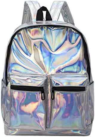 191557ef6f Marchome Hologram Laser Leather School Bookbag Casual Backpack for Girls  Colleage Students